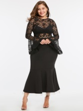 Plus Size Bell Sleeve Plus Size Black Women's Bodycon Dress