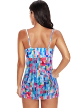 Mesh Ruffle Adjustable Strap Women's Tankini Set
