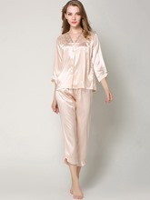 Sleepwear V-Neck Button Sleep Top and Bottom Pajama Set