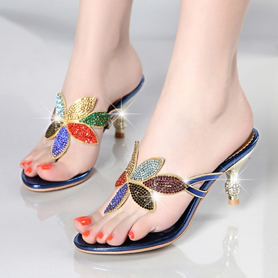 Colorful Rhinestone Floral Thong Heels Sandals womens Shoes Colorful Rhinestone Floral Thong Heels Sandals women's Shoes