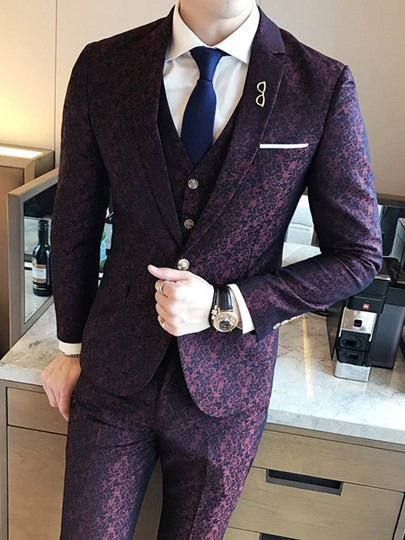 Three Piece Luxury Slim Men's Dress Suit