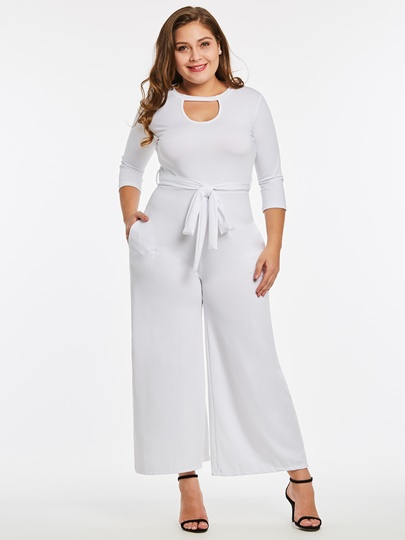 Plus Size Plain Lace-Up Women's Jumpsuit