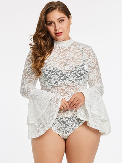 Plus Size Bell Sleeve Women's Bodysuit