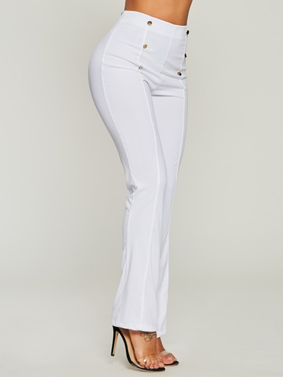 Plain High-Waist Button Loose Full Length Patchwork Women's Pants