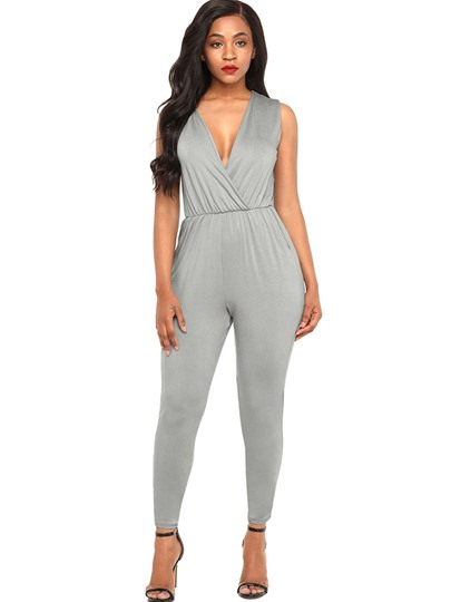 Plain V-Neck Deep Cut Women's Jumpsuit