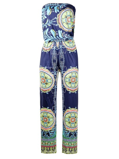 Floral Print Off Shoulder Women's Jumpsuit