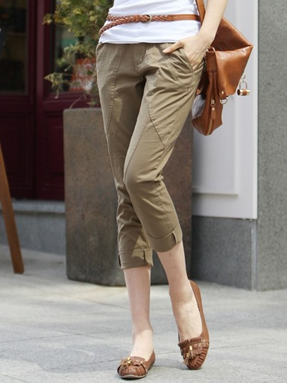 Button Pocket Casual Women's Cropped Trousers