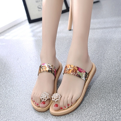 Print Floral Rhinestone Toe Ring Women's Slippers