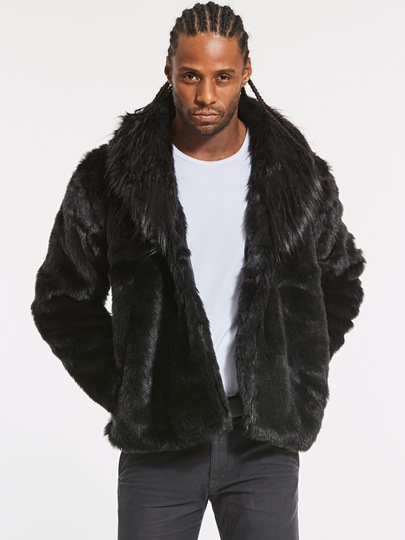 Faux Fur Thicken Warm Solid Color Men's Winter Coat