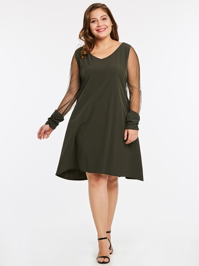 Green See-Through Plus Size Women's Day Dress