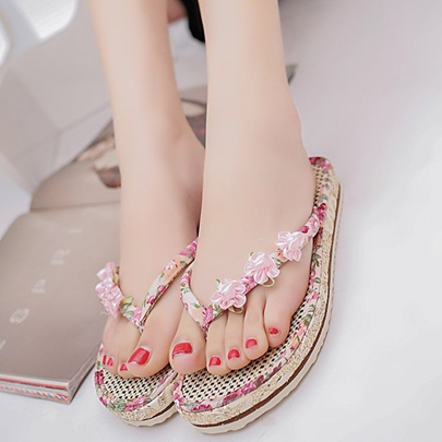 Appliques Floral Platform Flat With Sandals Slipper for Women