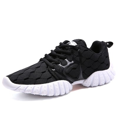 Breathable Shoes Black Tie Up Men's Comfort Sneakers