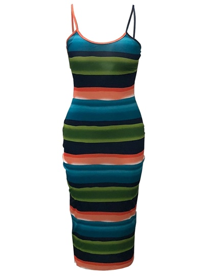 Straps Striped Women's Party Dress