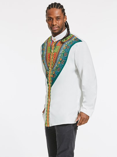 Round Collar African Ethnic Totem Printed Slim Fit Men's Shirt