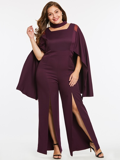 Plus Size Wide Legs Split Women's Jumpsuit