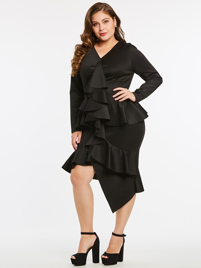 Plus Size Falbala Women's Bodycon Dress