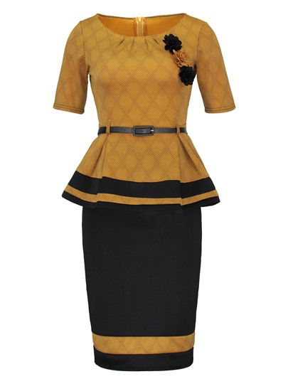 Bodycon Skirt and Short Sleeve Women's Two Piece Dress