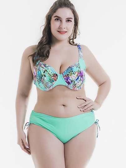 Print Underwire Side Tie Women's Plus Size Bikini Set