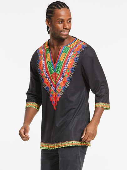 Dashiki Round Collar African Totem Ethnic Printed Slim Fit Casual Men's Shirt