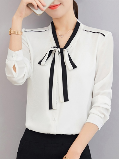 Tie Neck Chiffon Color Block Women's Blouse