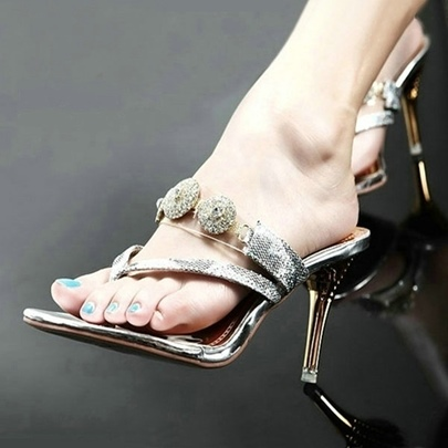 Glitter Sequins Rhinestone Sandals Thong Heel for Women
