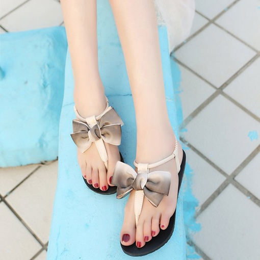 Gradient Bow Thong Slip On Women's Sandals
