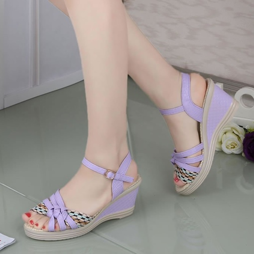 Knot Weave Buckle Wedge Heel Sandals for Women