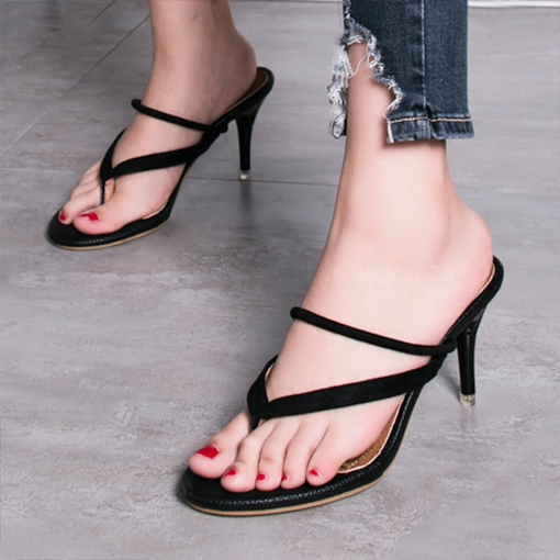 Daul-Use Shoes Suede Tong Heels Black Sandals for Women
