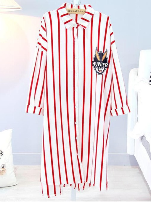 Loungewear Cotton Loose Vertical Stripe Long Sleeve Button Nightgown