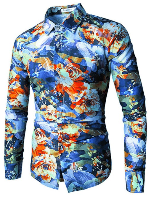 Ethnic Lapel Color Print Slim Men's Shirt