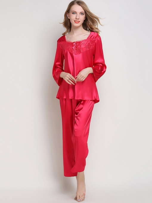 Sleepwear Square Neck Long Sleeve Sleepwear Pajama Set