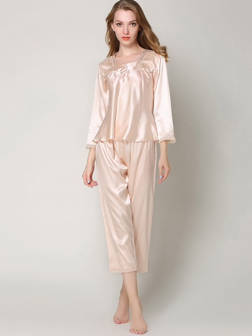 Sleepwear Lace Bowknot Ankle Length Pajama Set