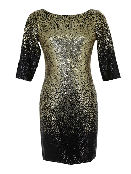 Golden Sequins Backless Women's Bodycon Dress