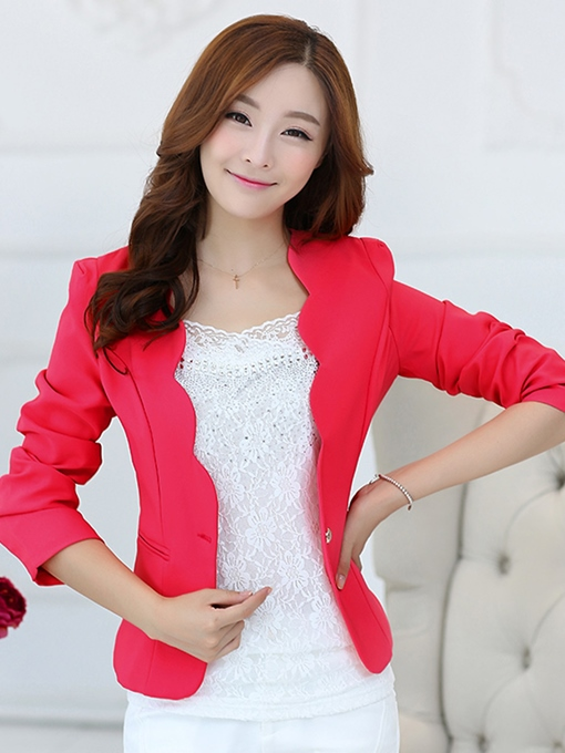 Wave Edge One Button Solid Color Women's Blazer