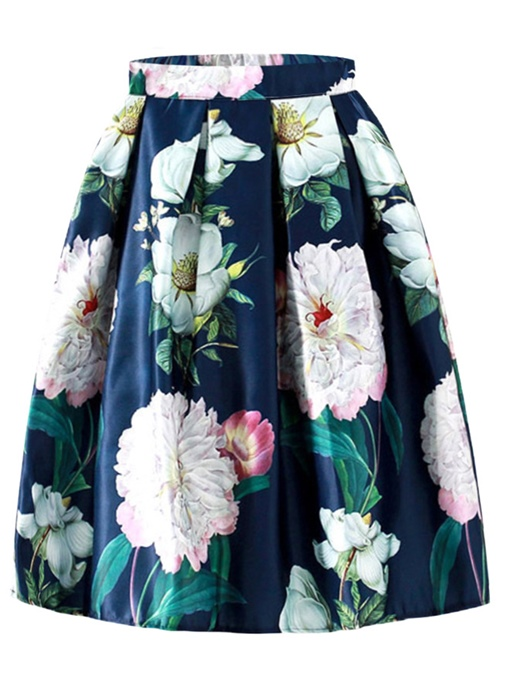 Floral Print Ball Gown Pleated Women's Skirt