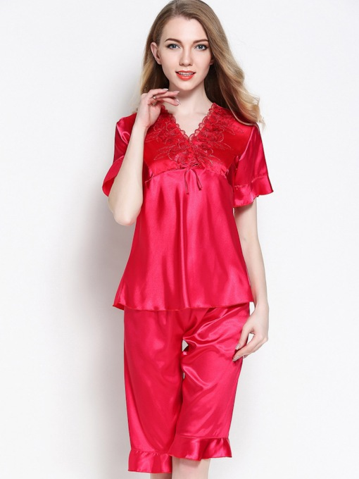 Loungewear V-Neck Falbala Short Sleeve Knee Length Pajama Set