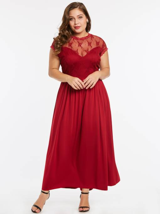 Christmas Plus Size Lace Patchwork Women's Maxi Dress