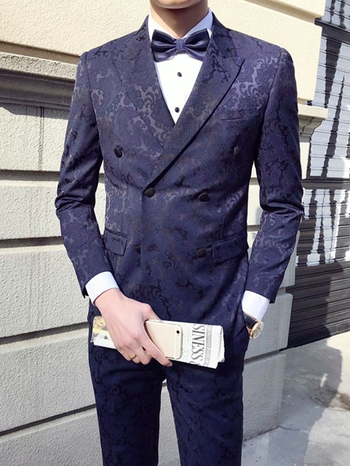 Notched Collar Double-Breasted Slim Men's Dress Suit