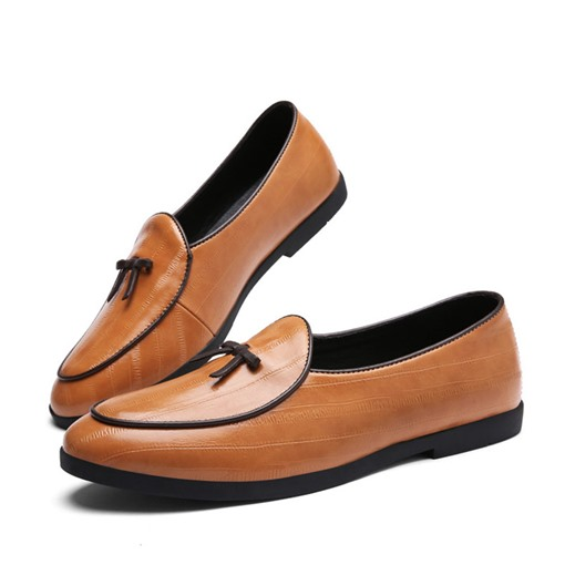 Slip On Bow Block Heel Men's Professional Shoes