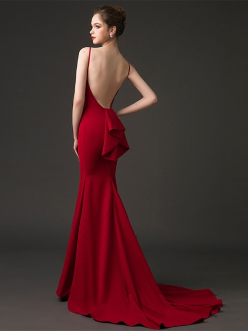 Mermaid Bateau Backless Evening Dress