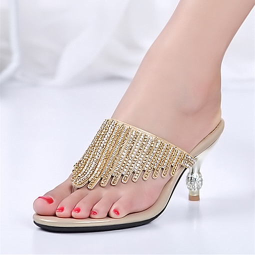 Designer Heel Golden Thong Heels Sandals for Women