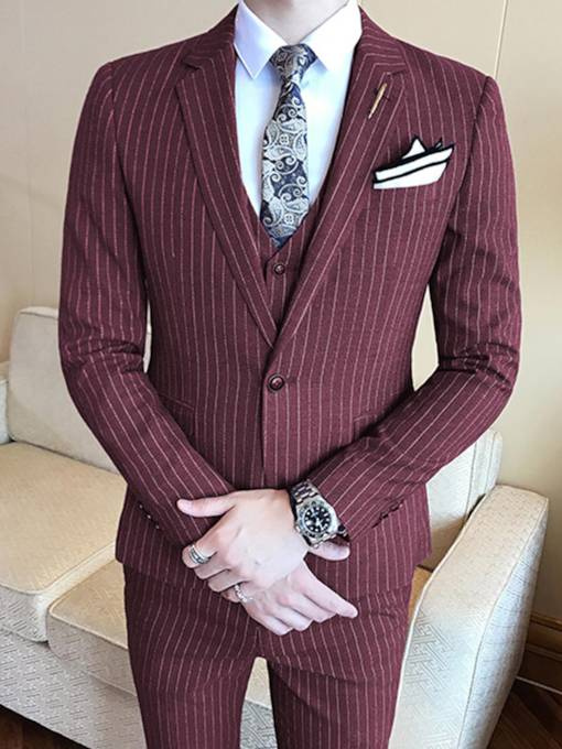 Stripe One Button Slim Men's Blazer