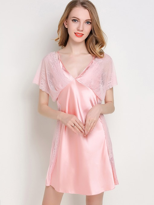 V-Neck Batwing Sleeve Above Knee Women's Nightgown