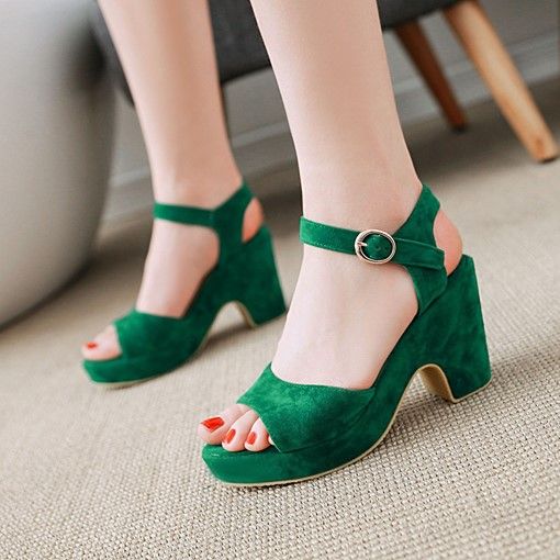 Suede Shoes Chunky Heel Platform Plain Sandals