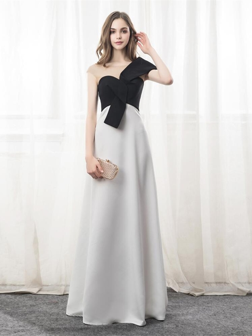 A-Line Scoop Bowknot Evening Dress
