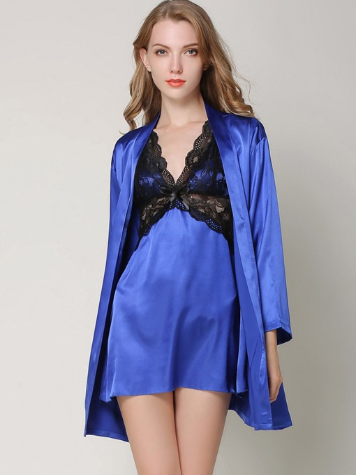 V-Neck Bowknot Backless Robe and Nightgown Pajama Set