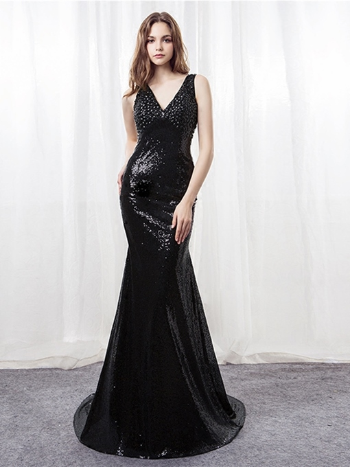 Beading Mermaid Sequins V-Neck Evening Dress