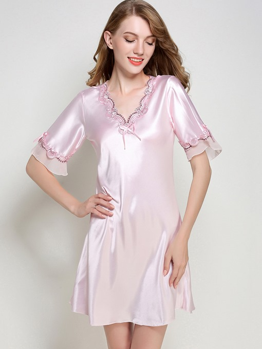 Pajamas Lace Slim Half Ruffle Sleeve Above Knee Night Gown