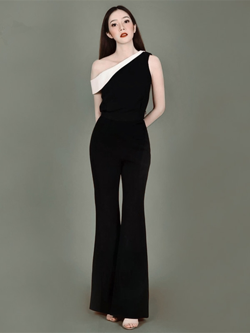 One-Shoulder A-Line Zipper-Up Evening Jumpsuits