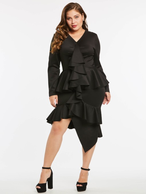 Plus Size Falbala Damen Bodycon Kleid
